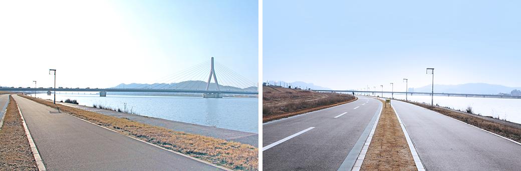 芦田川河川敷の起伏のない往復のシンプルなコース